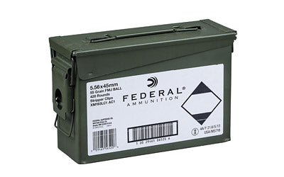Federal XM193, 556NATO, 55 Grain, Full Metal Jacket, 420 Rounds on Stripper Clips in Ammunition Can XM193LC1AC1