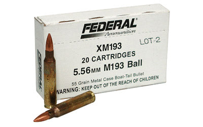 Federal XM193, 556NATO, 55 Grain, Full Metal Jacket, 20 Round Box XM193