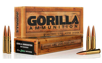 Gorilla Ammunition Company LLC 300 AAC Blackout, 125 Grain, Boat Tail Hollow Point, Sierra MatchKing, 20 Round Box GA300125SMK