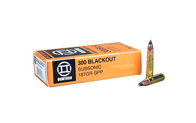 Gemtech Silencer Ammunition, 300 AAC Blackout, 187 Grain, Poly Tip, Subsonic, 20 Round Box AMMO-300BLK-187