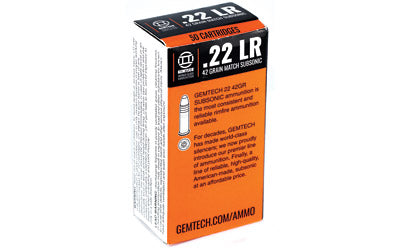 Gemtech Subsonic 22LR, 42 Grain, Round Nose, 50 Round Box AMMO22SS-BOX50