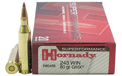 Hornady SuperFormance, 243WIN, 80 Grain, GMX, Lead Free, 20 Round Box 80456