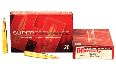 Hornady SuperFormance, 270WIN, 130 Grain, GMX, Lead Free, 20 Round Box 8052