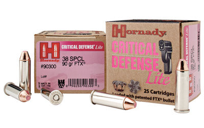Hornady Critical Defense, 38 Special, 90 Grain, Flex Tip, 25 Round Box 90300