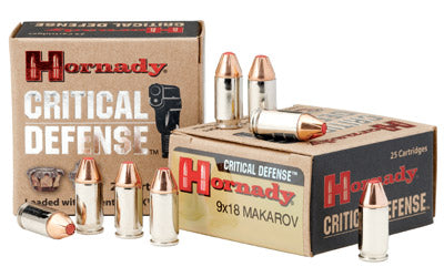 Hornady Critical Defense, 9MM Makarov, 90 Grain, FTX, 25 Round Box 91000