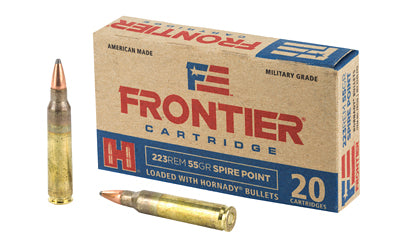 Frontier Cartridge Lake City, 223 Rem, 55 Grain, Spire Point, 20 Round Box FR120