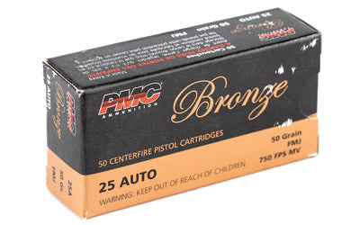 PMC Bronze, 25 ACP, 50 Grain, Full Metal Jacket, 50 Round Box 25A