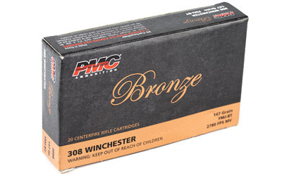PMC Bronze, 308 Winchester, 147 Grain, Full Metal Jacket, 20 Round Box 308B