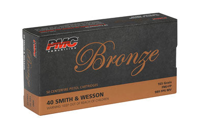 PMC Bronze, 40S&W, 165 Grain, Full Metal Jacket, 50 Round Box 40D