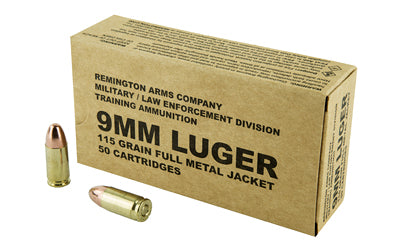 Remington Pistol, 9MM, 115 Grain, Full Metal Jacket, 50 Round Box B9MM3