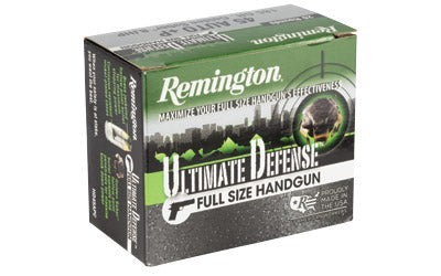 Remington Ultimate Defense, 45 ACP+P, 185 Grain, Brass Jacketed Hollow Point, 20 Round Box 28973