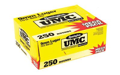 Remington UMC, 9MM, 115 Grain, Full Metal Jacket, Mega Pack,  250 Round Box 23777