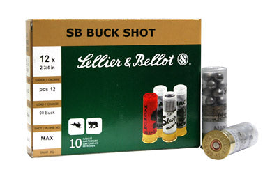 "Sellier & Bellot Shotshell, 12 Gauge, 2.75"", 00 Buck, 12 Pellets, 10 Round Box SB12BSE"