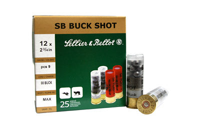 "Sellier & Bellot Shotshell, 12 Gauge, 2.75"", 00 Buck, 9 Pellets, 25 Round Box SB12BSG"