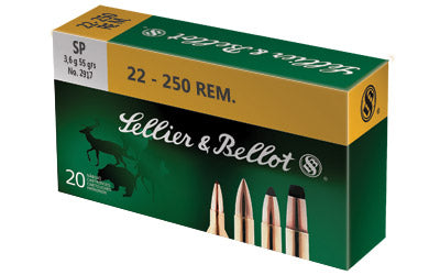 Sellier & Bellot Rifle, 22-250, 55 Grain, Soft Point, 20 Round Box SB22250B