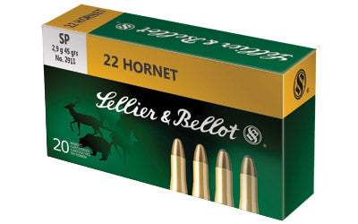 Sellier & Bellot Rifle, 22 Hornet, 45 Grain, Soft Point, 20 Round Box SB22HB