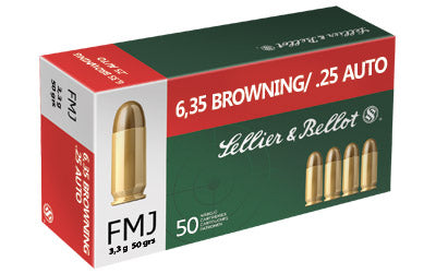 Sellier & Bellot Pistol 25ACP, 50 Grain, Full Metal Jacket, 50 Round Box SB25A
