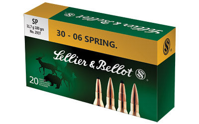 Sellier & Bellot Rifle, 30-06, 180 Grain, Soft Point, 20 Round Box SB3006B