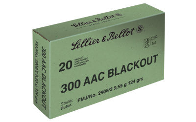 Sellier & Bellot Rifle, 300 Blackout, 124 Grain, Full Metal Jacket, 20 Round Box SB300BLKA