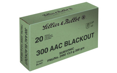 Sellier & Bellot Rifle, 300 Blackout, 200 Grain, Full Metal Jacket, Subsonic, 20 Round Box SB300BLKSUBA