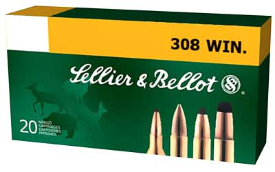 Sellier & Bellot Rifle, 308WIN, 147 Grain, Full Metal Jacket, 20 Round Box SB308A