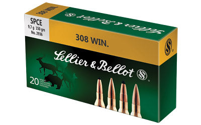 Sellier & Bellot Rifle, 308 Win, 150 Grain, Soft Point Cutting Edge, 20 Round Box SB308D