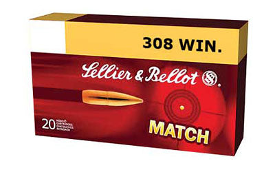 Sellier & Bellot Match, 308WIN, 200 Grain, Boat Tail Hollow Point Subsonic, 20 Round Box SB308SUB