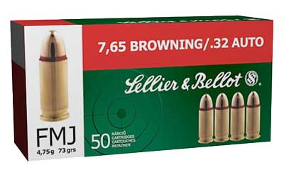 Sellier & Bellot Pistol, 32ACP, 73 Grain, Full Metal Jacket, 50 Round Box SB32A