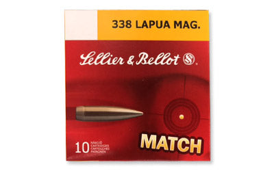 Sellier & Bellot Match, 338 Lapua, 300 Grain, Boat Tail Hollow Point, 10 Round Box SB338LMB