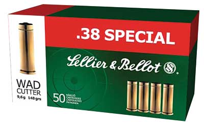 Sellier & Bellot Pistol, 38 Special, 148 Grain, Wadcutter, 50 Round Box SB38B