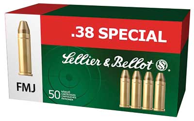 Sellier & Bellot Pistol, 38 Special, 158 Grain, Full Metal Jacket, 50 Round Box SB38P