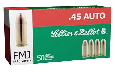 Sellier & Bellot Pistol, 45ACP, 230 Grain, Full Metal Jacket, 50 Round Box SB45A