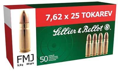 Sellier & Bellot Pistol, 7.62x25 Tokarev, 85 Grain, Full Metal Jacket, 50 Round Box SB762TOK