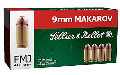 Sellier & Bellot Pistol, 9MM Makarov, 95 Grain, Full Metal Jacket, 50 Round Box SB9MAK