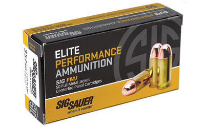 Sig Sauer Elite Performance Ball, 357SIG, 125 Grain, Full Metal Jacket, 50 Round Box E357B1-50