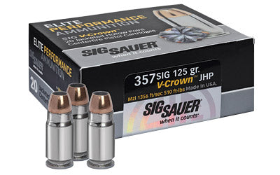 Sig Sauer Elite Performance V-Crown Ammunition, 357 Sig, 125 Grain, Jacketed Hollow Point, 20 Round Box E357S1-20