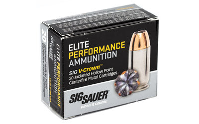 Sig Sauer Elite Performance V-Crown Ammunition, 380ACP, 90 Grain, Jacketed Hollow Point, 20 Round Box E380A1-20