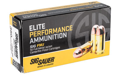 Sig Sauer Elite Performance Ball, 380ACP, 100 Grain, Full Metal Jacket, 50 Round Box E380B1-50