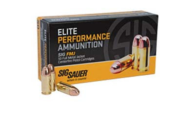 Sig Sauer Elite Performance Ball, 38 Super, 125 Grain, Full Metal Jacket, 50 Round Box E38SUB-50