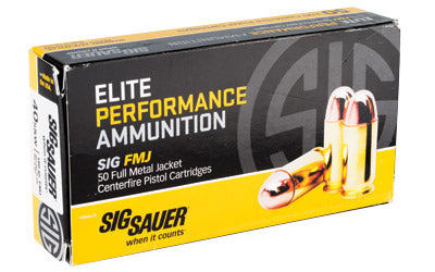 Sig Sauer Elite Performance Ball, 40 S&W, 180 Grain, Full Metal Jacket, 50 Round Box E40SB2-50