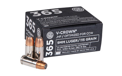 Sig Sauer Elite Performance V-Crown, 9MM, 115 Grain, Jacketed Hollow Point, Designed for Short Barrel Pistols, Low Recoil, 20 Round Box E9MMA1-365-20