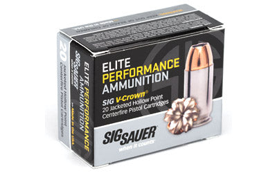 Sig Sauer Elite Performance V-Crown, 9MM, 147 Grain, Jacketed Hollow Point, 20 Round Box E9MMA3-20