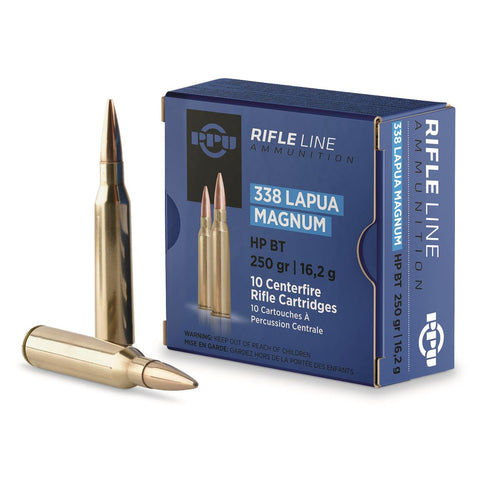 PPU PP338H Standard Rifle 338 Lapua Magnum 250 GR Hollow Point Boat Tail 10 Bx/ 20 Cs