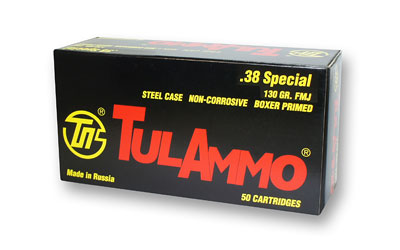 TulAmmo USA Steel Case, 38 Special, 130 Grain, Full Metal Jacket, 50 Round Box TA038158