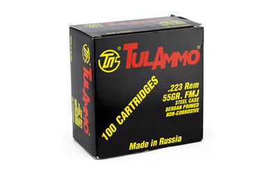 TulAmmo USA Steel Case, 223REM, 55 Grain, Full Metal Jacket, 100 Round Box TA223100