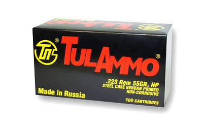 TulAmmo USA Steel Case, 223REM, 55 Grain, Hollow Point, 100 Round Box TA223101