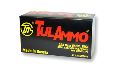 TulAmmo USA Steel Case, 223REM, 55 Grain, Full Metal Jacket, 40 Round Box TA223540