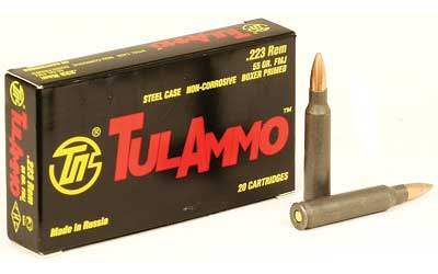 TulAmmo USA Steel Case, 223REM, 55 Grain, Full Metal Jacket, Non Corrosive, 20 Round Box TA223550