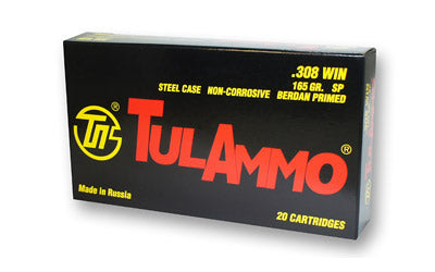 TulAmmo USA Steel Case, 308WIN, 165 Grain, Soft Point, 20 Round Box TA308000