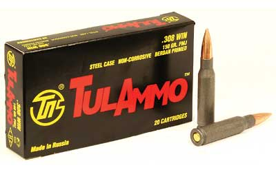 TulAmmo USA Steel Case, 308WIN, 150 Grain, Full Metal Jacket, Bi-Metal Casing, Non Corrosive, 20 Round Box TA308150